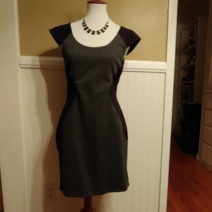 EXPRESS CAP SLEEVE SHEATH DRESS - BLACK/GRAY